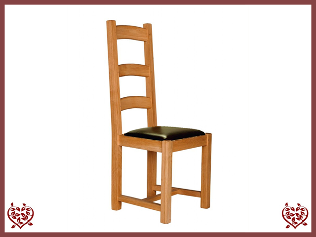COUNTRY OAK DINING CHAIR – LEATHER SEAT