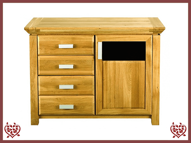 TEMPLE OAK SIDEBOARD, DOOR/4 DRAWERS, GLAZED - paul-martyn-furniture
