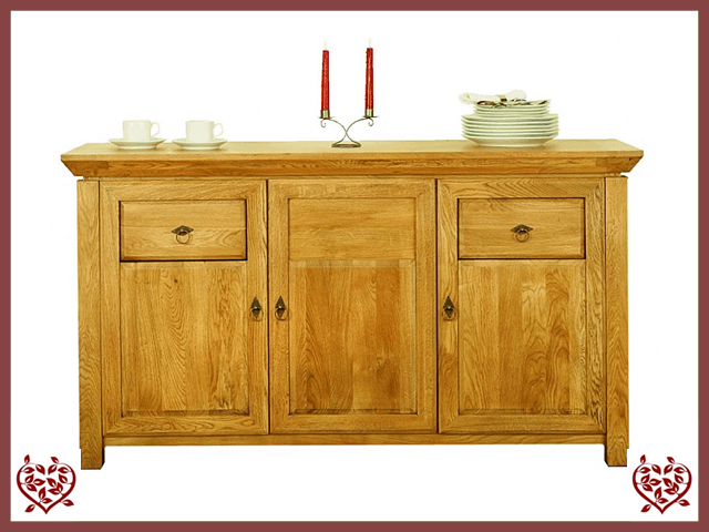 TEMPLE OAK SIDEBOARD, 3 DOORS AND 2 DRAWERS