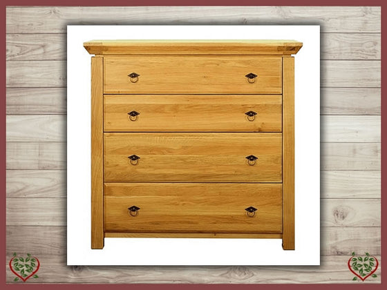 TEMPLE OAK 4 DRAWER CHEST | Paul Martyn Furniture UK