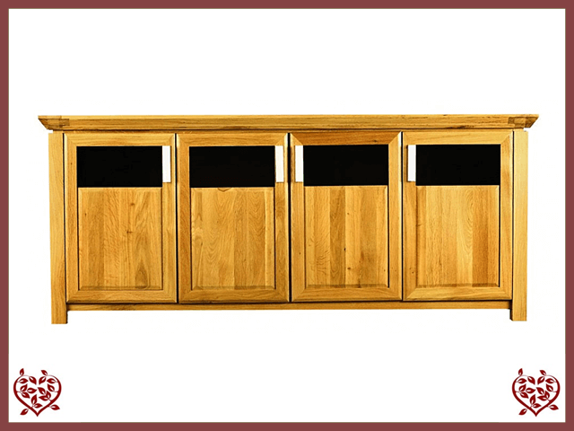 TEMPLE OAK SIDEBOARD, 4 DOORS, PART GLAZED - paul-martyn-furniture