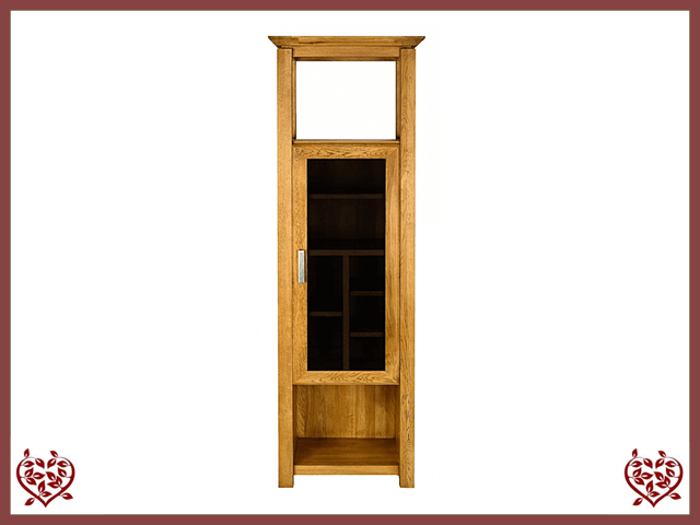 TEMPLE OAK DISPLAY CABINET, 1 DOOR, PART GLAZED - paul-martyn-furniture
