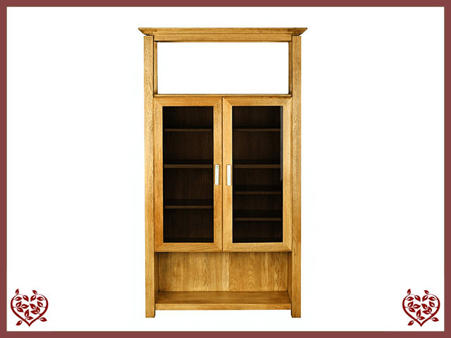 TEMPLE OAK DISPLAY CABINET, 2 DOORS