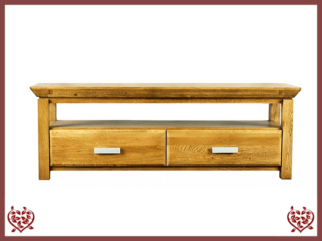 TEMPLE OAK TV UNIT, 2 DRAWERS | Paul Martyn Furniture UK