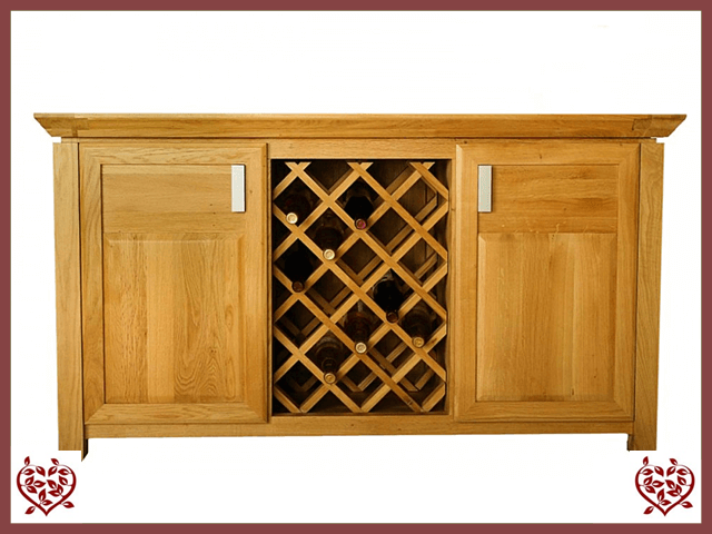 TEMPLE OAK WINE CABINET, 2 DOORS AND WINE RACK - paul-martyn-furniture