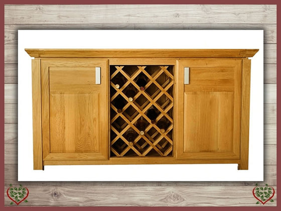 TEMPLE OAK WINE CABINET, 2 DOORS AND WINE RACK | Paul Martyn Furniture UK