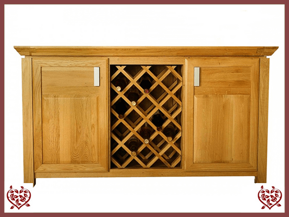 TEMPLE OAK WINE CABINET, 2 DOORS AND WINE RACK