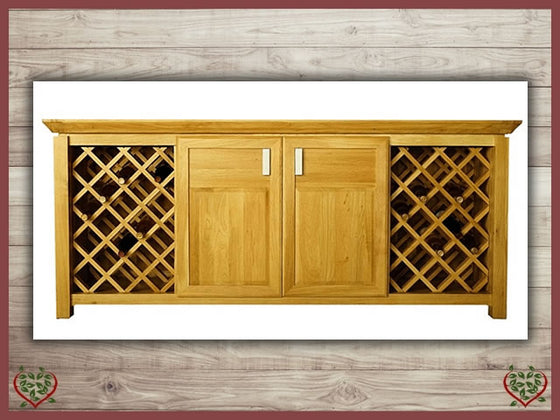TEMPLE OAK WINE CABINET, 2 DOORS AND WINE RACKS | Paul Martyn Furniture UK