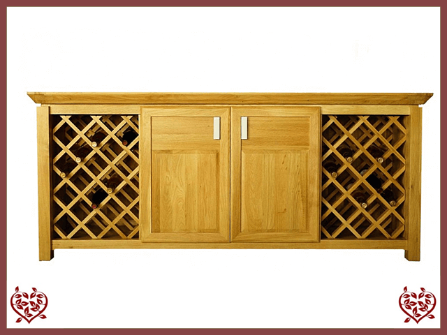 TEMPLE OAK WINE CABINET, 2 DOORS AND WINE RACKS
