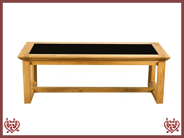 TEMPLE OAK COFFEE TABLE, GLAZED TOP - paul-martyn-furniture