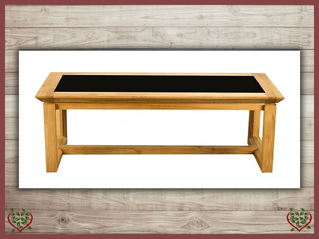 TEMPLE OAK COFFEE TABLE, GLAZED TOP