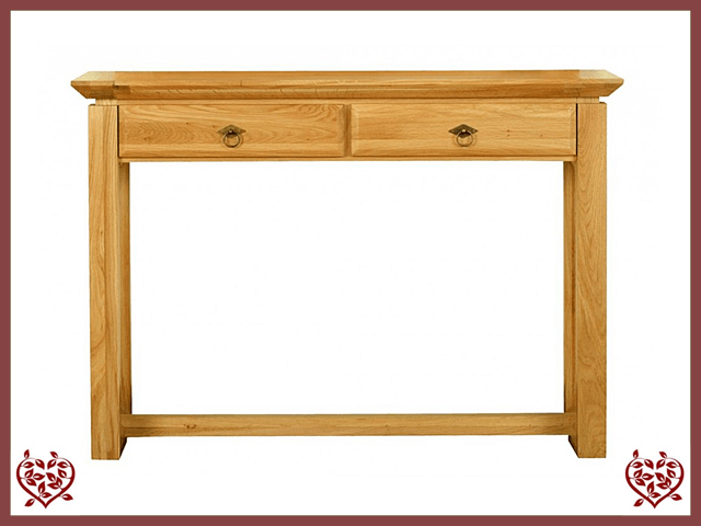 TEMPLE OAK HALL TABLE, 2 DRAWERS