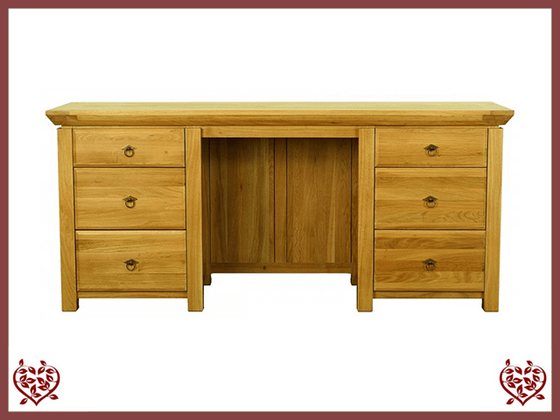 TEMPLE OAK DESK, 6 DRAWERS