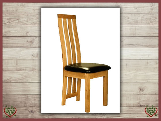 TEMPLE OAK DINING CHAIR LEATHER SEAT | Paul Martyn Furniture UK