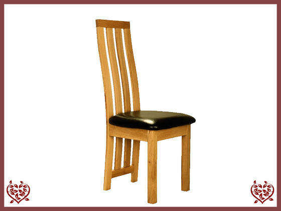 TEMPLE OAK DINING CHAIR LEATHER SEAT