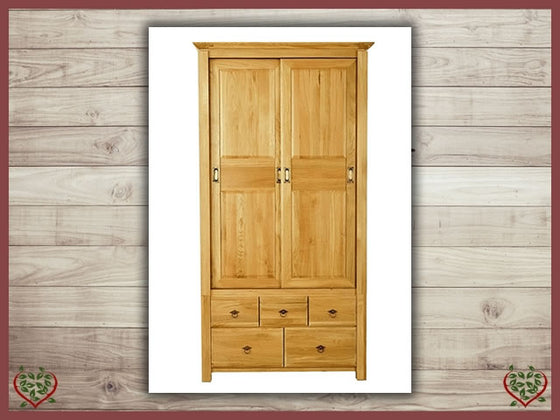 TEMPLE OAK WARDROBE, SLIDING DOORS/5 DRAWERS | Paul Martyn Furniture UK