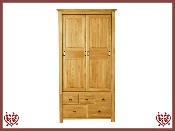 TEMPLE OAK WARDROBE, SLIDING DOORS/5 DRAWERS