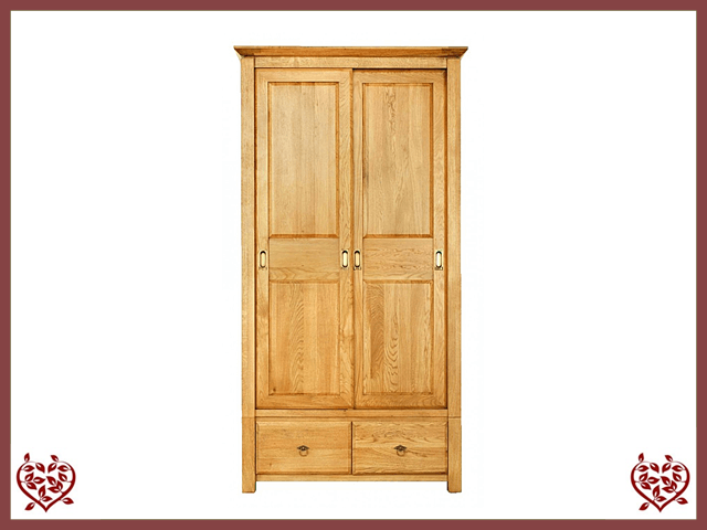TEMPLE OAK WARDROBE, 2 SLIDING DOORS/2 DRAWERS - paul-martyn-furniture