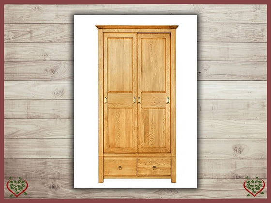 TEMPLE OAK WARDROBE, 2 SLIDING DOORS/2 DRAWERS | Paul Martyn Furniture UK