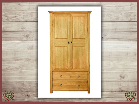 TEMPLE OAK WARDROBE, 2 DOORS AND 3 DRAWERS | Paul Martyn Furniture UK