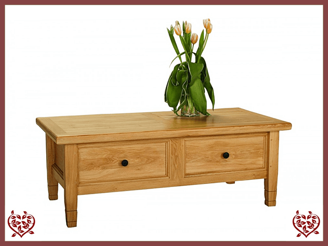 COUNTRY OAK COFFEE TABLE & DRINKS CABINET Paul Martyn Furniture UK