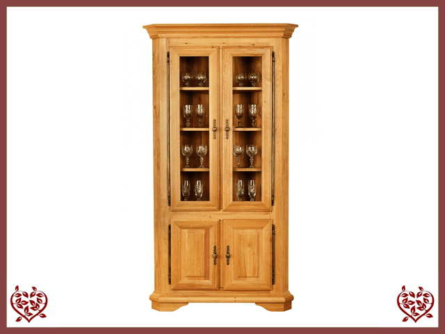COURTIER OAK CORNER DISPLAY CABINET – 4 DOORS - paul-martyn-furniture
