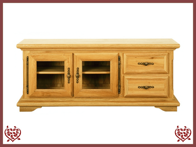 COURTIER OAK TV UNIT, 2 DOORS/2 DRAWERS