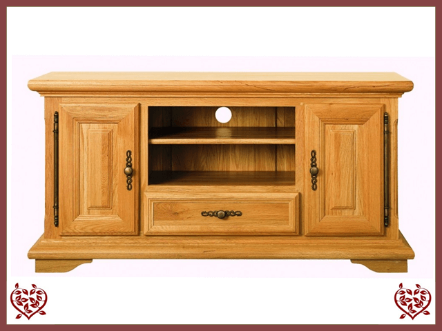 COURTIER OAK WIDESCREEN TV UNIT, 2 DOORS/1DRAWER