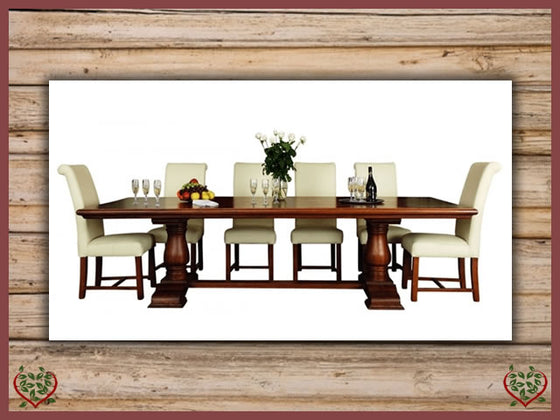COURTIER OAK RUSTIC DINING TABLE – ROUND LEGS Paul Martyn Furniture UK