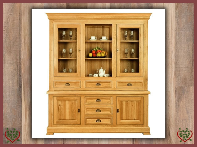 MANOR OAK GLAZED DRESSER – 4 DOORS/6 DRAWERS | Paul Martyn Furniture UK