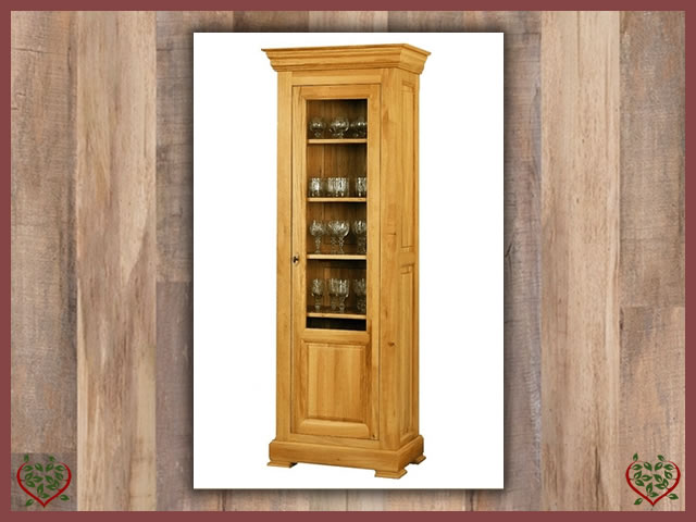 MANOR OAK GLAZED DISPLAY CABINET – 1 DOOR | Paul Martyn Furniture UK