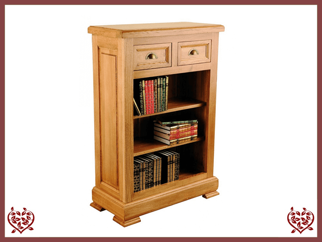 MANOR OAK BOOKCASE – 2 DRAWERS - paul-martyn-furniture