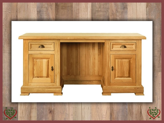 MANOR OAK DESK – 2 DOORS/2 DRAWERS Paul Martyn Furniture UK