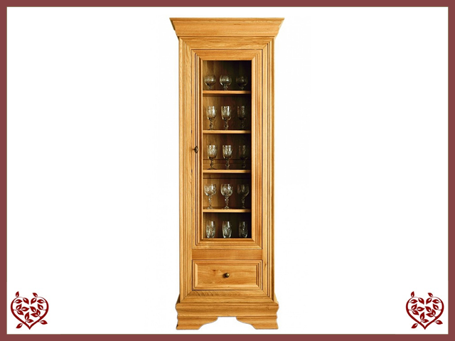CHANCELLOR OAK DISPLAY CABINET, 1 DOOR AND 1 DRAWER - paul-martyn-furniture