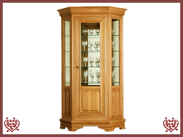 CHANCELLOR OAK HEXAGONAL DISPLAY CABINET, 1 DOOR - paul-martyn-furniture