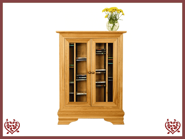 CHANCELLOR OAK CD AND DVD RACK, 2 DOORS