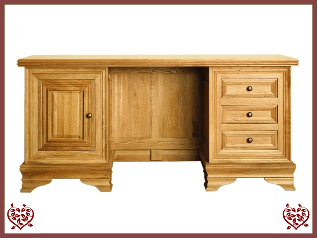 CHANCELLOR OAK DESK, 1 DOOR AND 3 DRAWERS | Paul Martyn Furniture UK