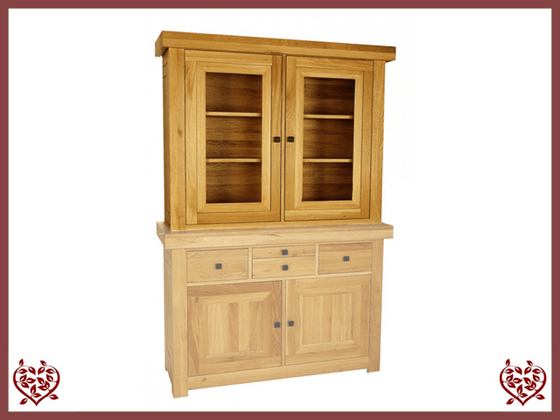 AUBUSSON OAK 2 DOOR GLAZED TOP ONLY - paul-martyn-furniture