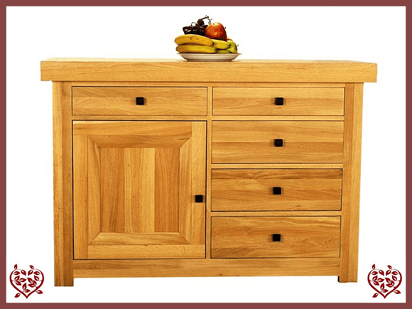 AUBUSSON OAK 1 DOOR 5 DRAWER SIDEBOARD
