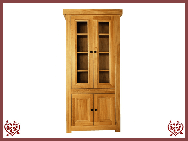 AUBUSSON OAK 4 DOOR BOOKCASE DISPLAY CABINET