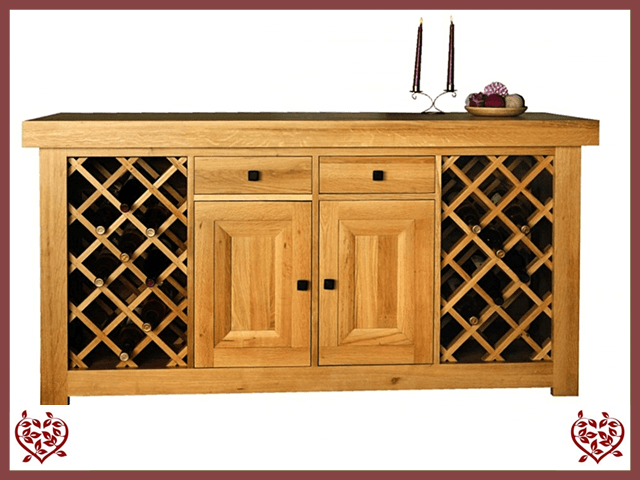 AUBUSSON OAK SIDEBOARD WITH WINE RACKS
