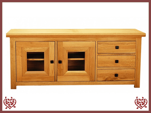 AUBUSSON OAK WIDE GLAZED TV CABINET