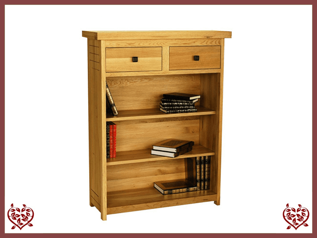 AUBUSSON OAK LOW BOOKCASE 2 DRAWERS | Paul Martyn Furniture UK