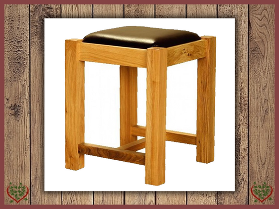 AUBUSSON OAK LEATHER SEAT STOOL | Paul Martyn Furniture UK