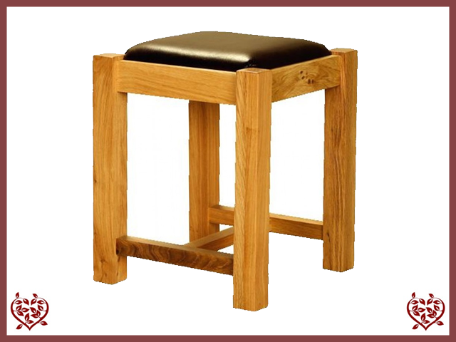 AUBUSSON OAK LEATHER SEAT STOOL
