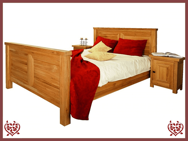 AUBUSSON 5FT KING SIZED OAK BED (HIGH FOOTBOARD)