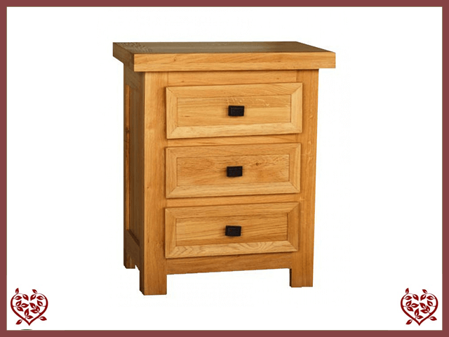 AUBUSSON OAK 3 DRAWER BEDSIDE CHEST | Paul Martyn Furniture UK