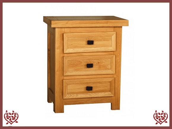AUBUSSON OAK 3 DRAWER BEDSIDE CHEST
