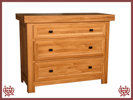 AUBUSSON OAK 3 DRAWER CHEST - paul-martyn-furniture