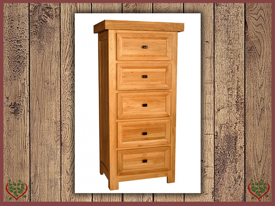 AUBUSSON OAK 5 DRAWER WELLINGTON CHEST | Paul Martyn Furniture UK